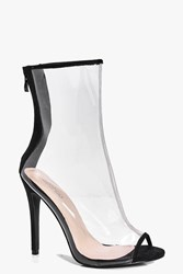 Boohoo Stiletto Peeptoe Clear Shoe Boot Black
