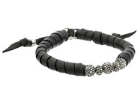 King Baby Studio Thin Natural Wrap Black Leather Bracelet With Stingray Beads