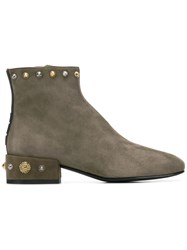 Alberto Gozzi Embellished Ankle Boots Green