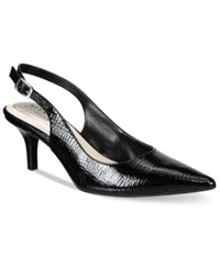 Alfani Women's Babbsy Pointed Toe Slingback Pumps Only At Macy's Women's Shoes Black Exotic