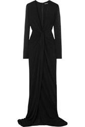 Tom Ford Twist Front Stretch Jersey Gown Black