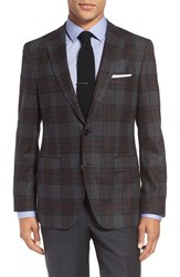 Boss Men's 'Jeen' Trim Fit Plaid Wool Blend Sport Coat
