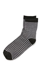 Plush Stripe Rolled Fleece Socks Charcoal