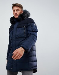 Armani Exchange Long Down Parka With Faux Fur Trim In Navy