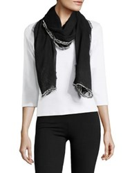Lord And Taylor Confetti Trimmed Scarf Black
