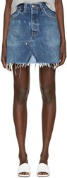Re Done Blue Denim High Rise Miniskirt
