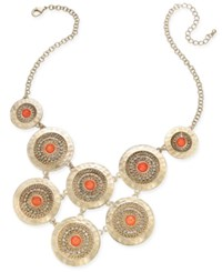 Thalia Sodi Gold Tone Multi Disc Stone And Pave Statement Necklace Only At Macy's Coral