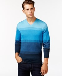 Calvin Klein Simple Ombre Stripe V Neck Sweater Pagota Blue