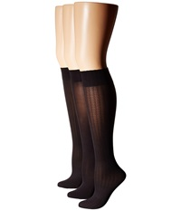 Hue Cable Rib Opaque Knee High 3 Pack Black Women's Crew Cut Socks Shoes