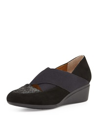 J. Renee Nalha Suede And Elastic Wedge Slip On Black