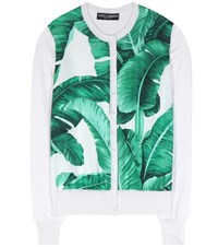 Dolce And Gabbana Printed Silk Cardigan White