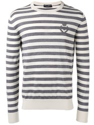 Dolce And Gabbana Striped Jumper Grey