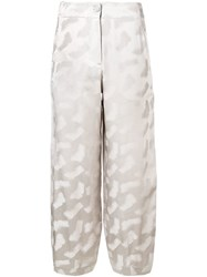 Emporio Armani Loose Fit Cropped Trousers Neutrals