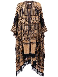 Etro Embroidered Scarf Cape Brown