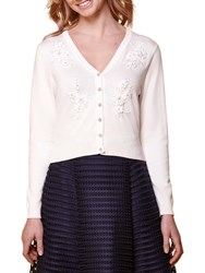 Yumi Floral Embroidered Cardigan Ivory