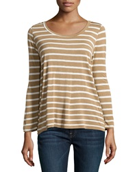 Soft Joie Long Sleeve Striped Jersey Tee Camel Porcelain