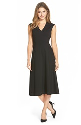 Halogen Sleeveless Fit And Flare Midi Dress Regular And Petite Black