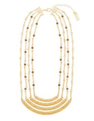 Steve Madden Tigers Eye Goldtone Textured Multi Row Station Necklace
