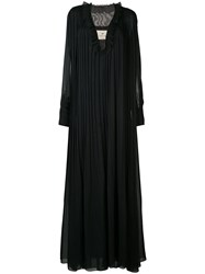By. Bonnie Young Sheer Sleeves Pleated Gown Women Silk 2 Black
