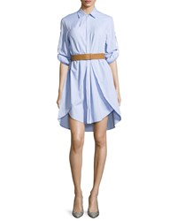 Halston Long Sleeve Overlay Belted Shirtdress Chambray
