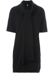Eleventy Tie Collar Knitted Sweater Black