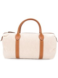 Hermes Vintage Toile Barrel Tote Nude And Neutrals
