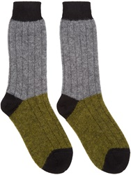 Haider Ackermann Grey And Khaki Alpaca Socks