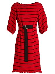 Sonia Rykiel Striped Cotton Blend Tweed Dress Red Multi