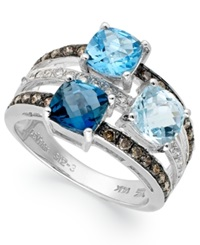 Le Vian Blue Topaz 2 9 10 Ct. T.W. And Diamond 3 8 Ct. T.W. 3 Stone Ring In 14K White Gold