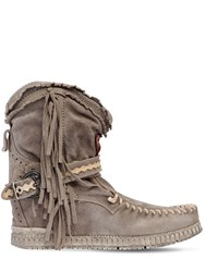 El Vaquero 70Mm Arya Suede Fringed Wedge Boots Grey