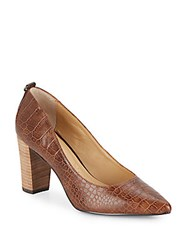 Ellen Tracy Plush Embossed Leather Point Toe Pumps Dark Brown