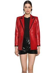 Saint Laurent Double Breasted Nappa Leather Jacket Red