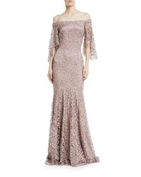 Theia Swarovski Crystal Lace Flutter Sleeve Gown Mink