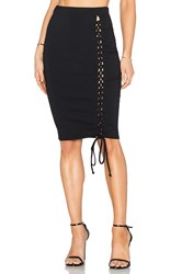 Donna Mizani Lace Up Midi Slit Skirt Black