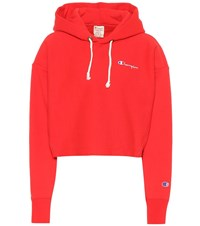 Champion Cropped Cotton Hoodie Red