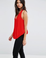 Asos Drape Plunge Halter Top With Hidden Bandeau Red