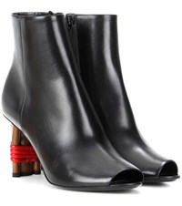 Balenciaga Bistrot Leather Peep Toe Ankle Boots Black
