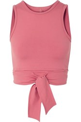 Live The Process Ballet Cropped Tie Front Stretch Supplex Top Antique Rose