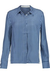 Victoria Beckham Gingham Silk Satin Shirt Blue