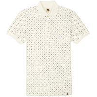 Pretty Green Bankside Geo Print Polo Shirt Cream