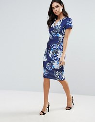 Jessica Wright Printed Midi Dress Blue