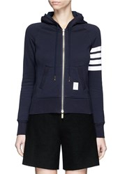 Thom Browne Stripe Sleeve Cotton Zip Hoodie Blue