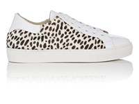 Barneys New York Cheetah Print Faux Fur And Leather Sneakers Wht.Andblk.