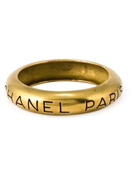 Chanel Vintage Engraved Logo Bangle Metallic