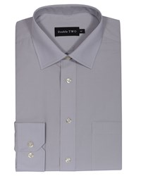 Double Two Men's Non Iron Poplin Long Sleeve Shirt Grey