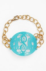 Women's Moon And Lola 'Annabel' Large Oval Personalized Monogram Bracelet Robins Egg Gold Nordstrom Exclusive