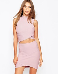 Missguided Bandage Wrap Over Sleeveless Crop Top Mauve