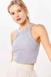 Truly Madly Deeply Blakeley High Neck Cropped Top Grey