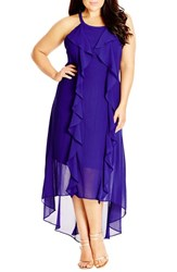 Plus Size Women's City Chic 'Lush Layer' High Low Halter Style Maxi Dress Dewberry