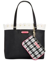 Betsey Johnson Scallop Trim Tote With Pouch Black